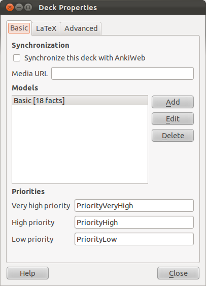 Anki Flashcards Decks synchronized and used with a browser on